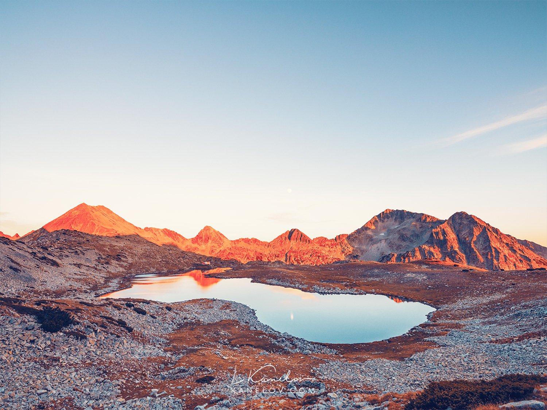 Mountain lake sunset landscape photography